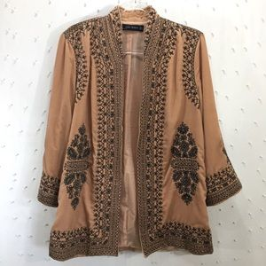 Zara Embroidered Velvet Kimono Sz M